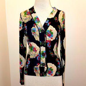 Tory Burch floral 100% merino wool cardigan sweater size medium